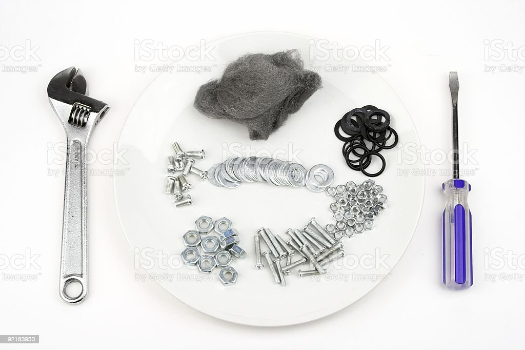 Meal Of Tools Bolts And  Other Hardware royalty-free stock photo