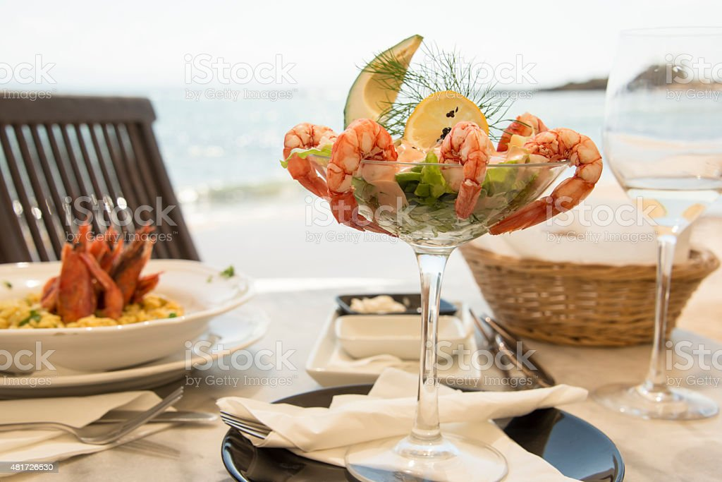 Meal on the shore stock photo