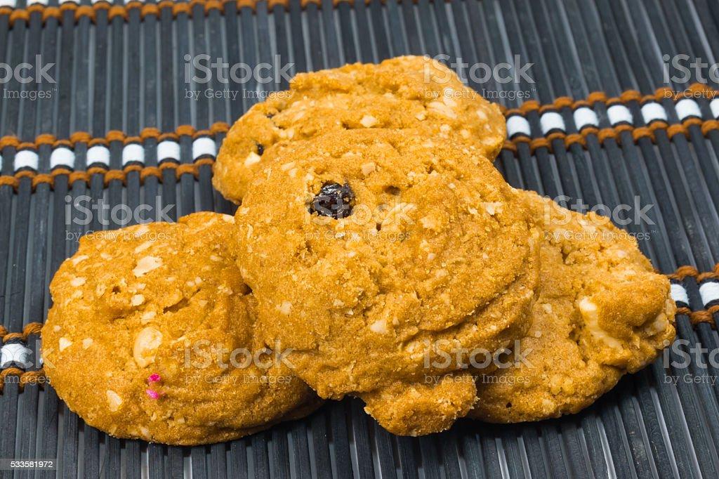 meal rasin cookies stock photo