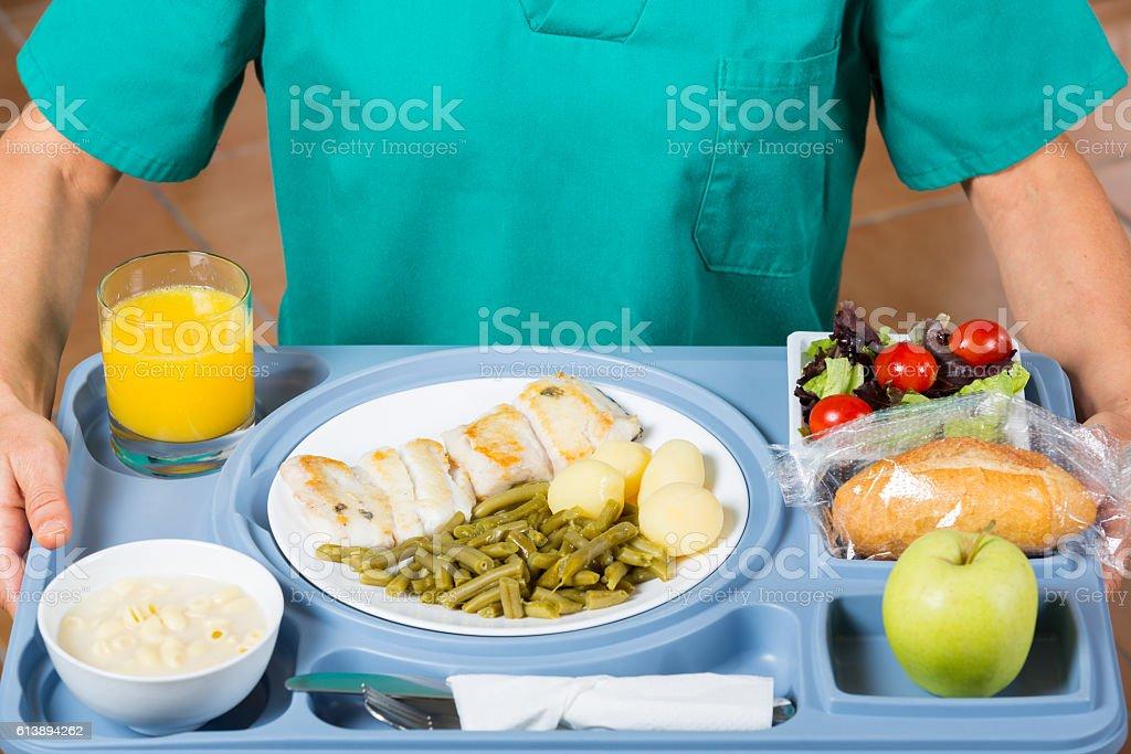 Meal tray of a hospital stock photo