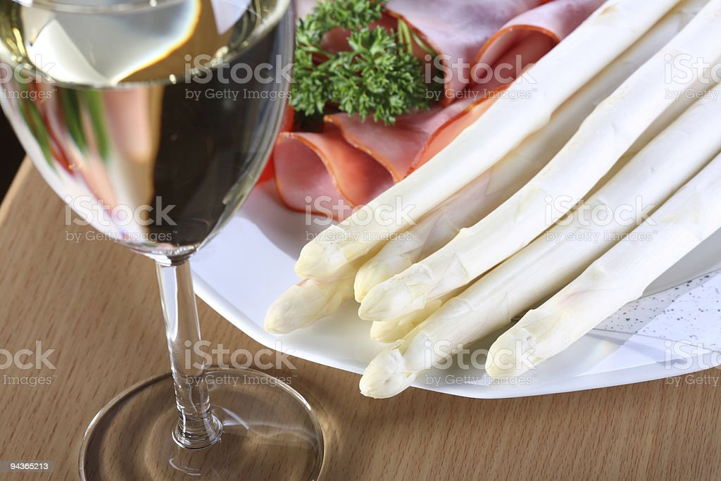 Meal with Asparagus and White Wine royalty-free stock photo