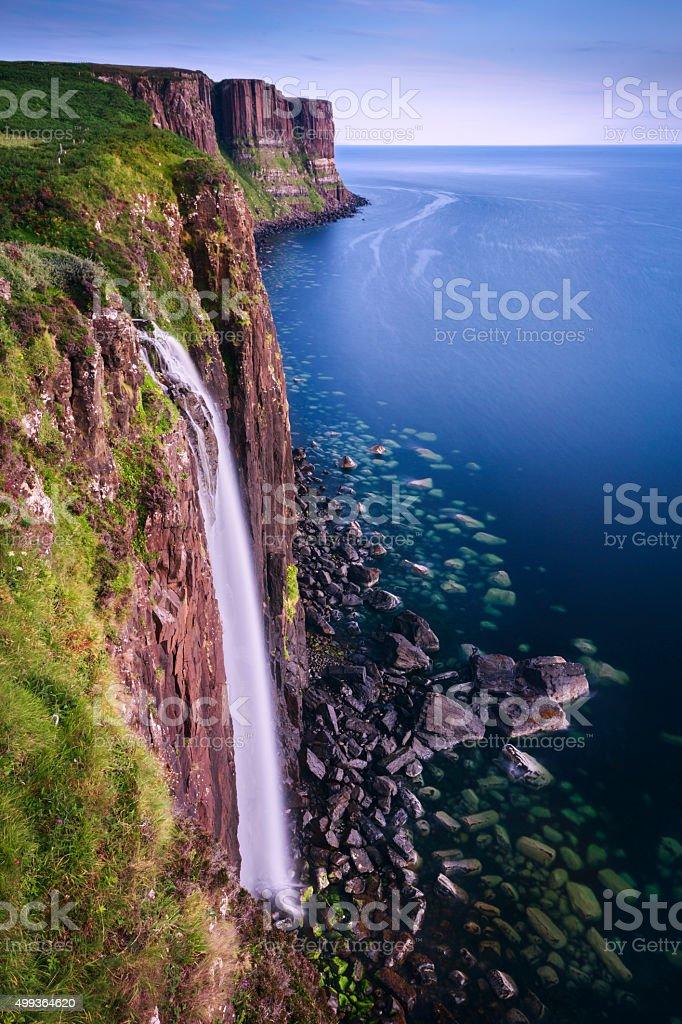 Mealt Waterfall on the Isle of Skye Coast / Scotland stock photo