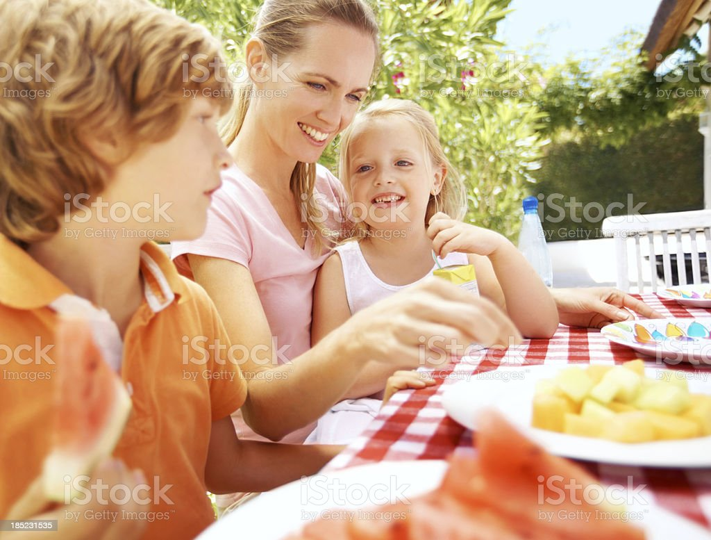 Mealtime with mum royalty-free stock photo