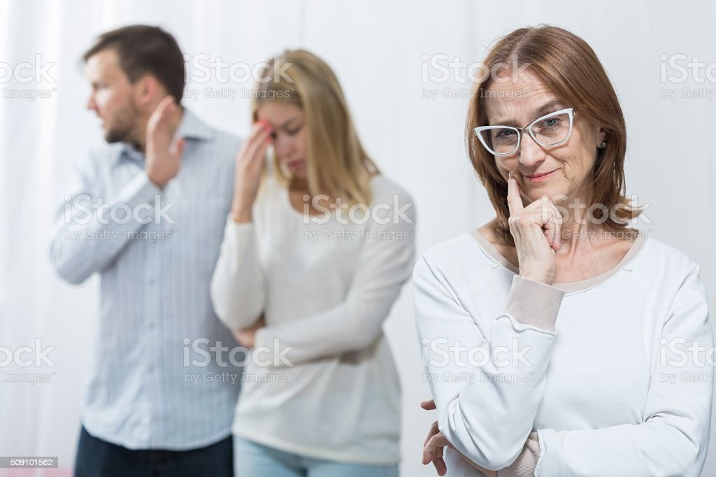 Mean mother and marital dispute stock photo