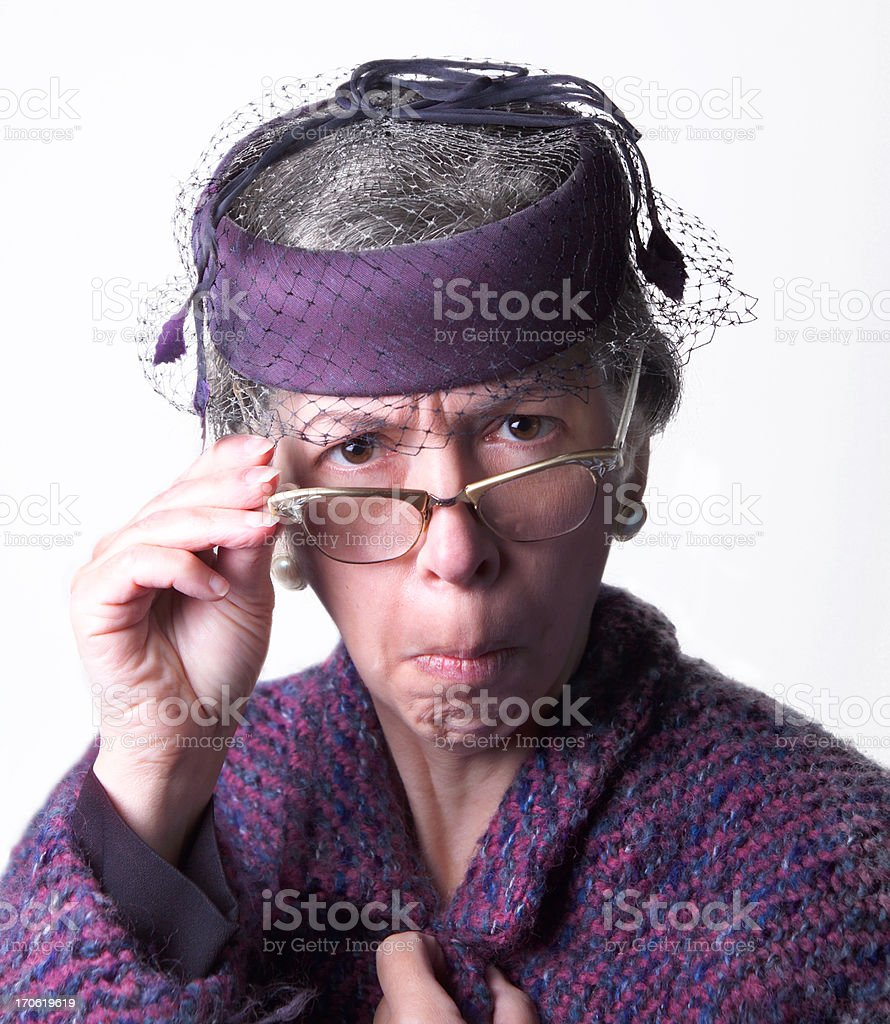 mean old lady stock photo