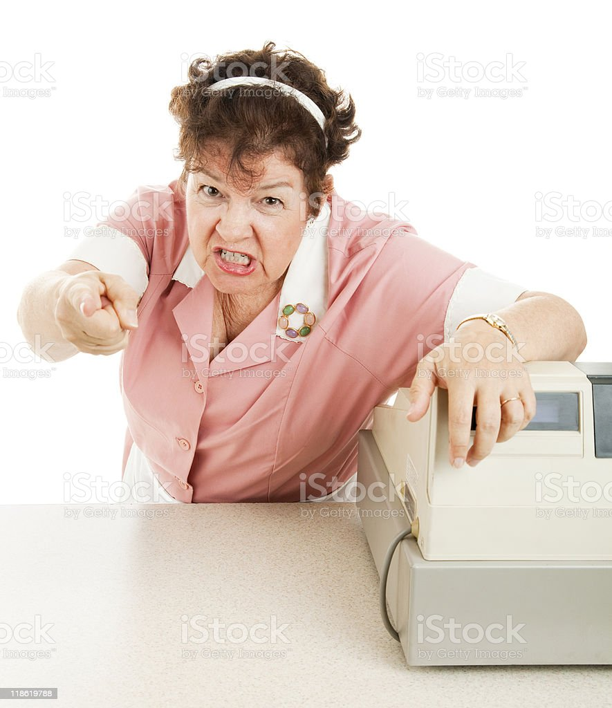 Mean Old Lunch Lady royalty-free stock photo