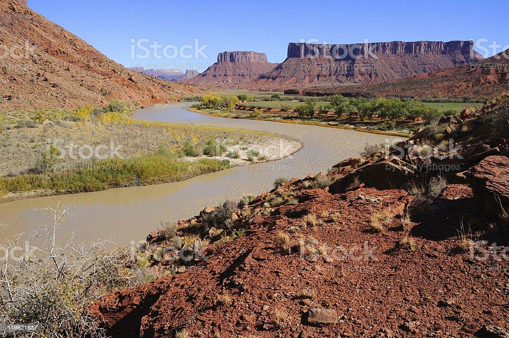 Meander in Colorado River near Desert Resort royalty-free stock photo