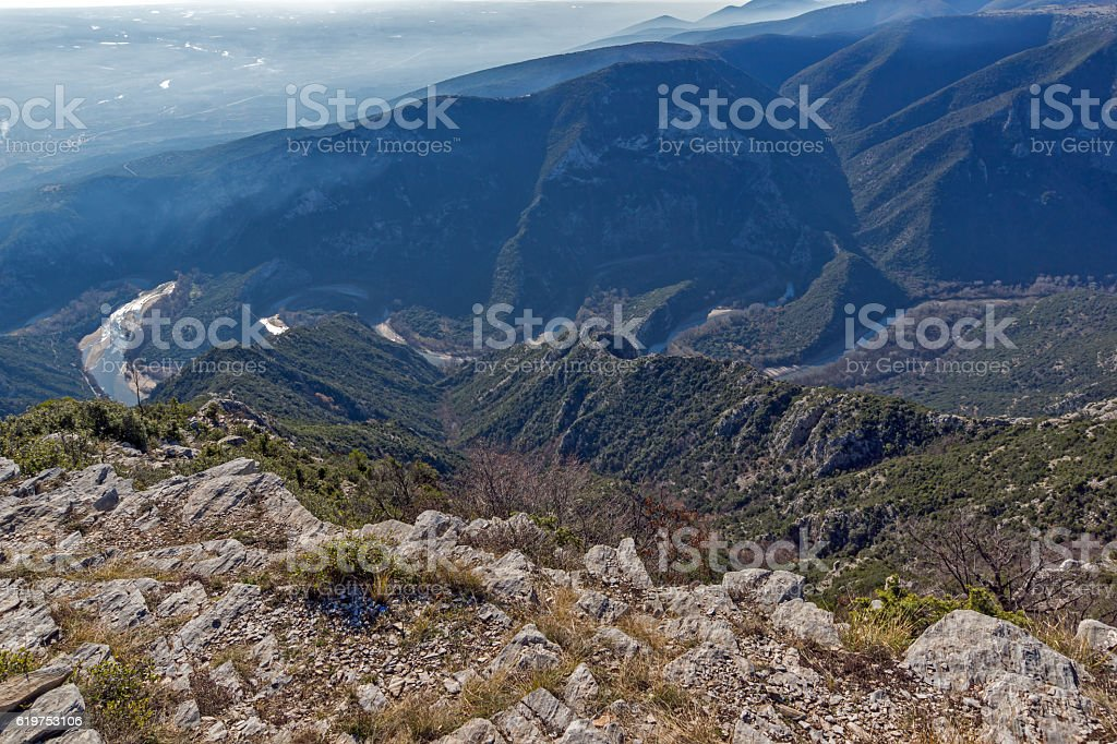 Meander of  Nestos Gorge near town of Xanthi, Greece stock photo