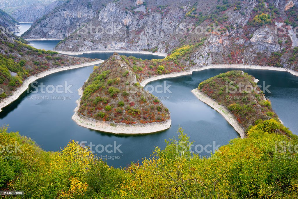 Meander of the Uvac river, Serbia stock photo