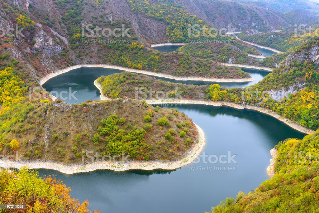 Meander of Uvac river, Serbia stock photo