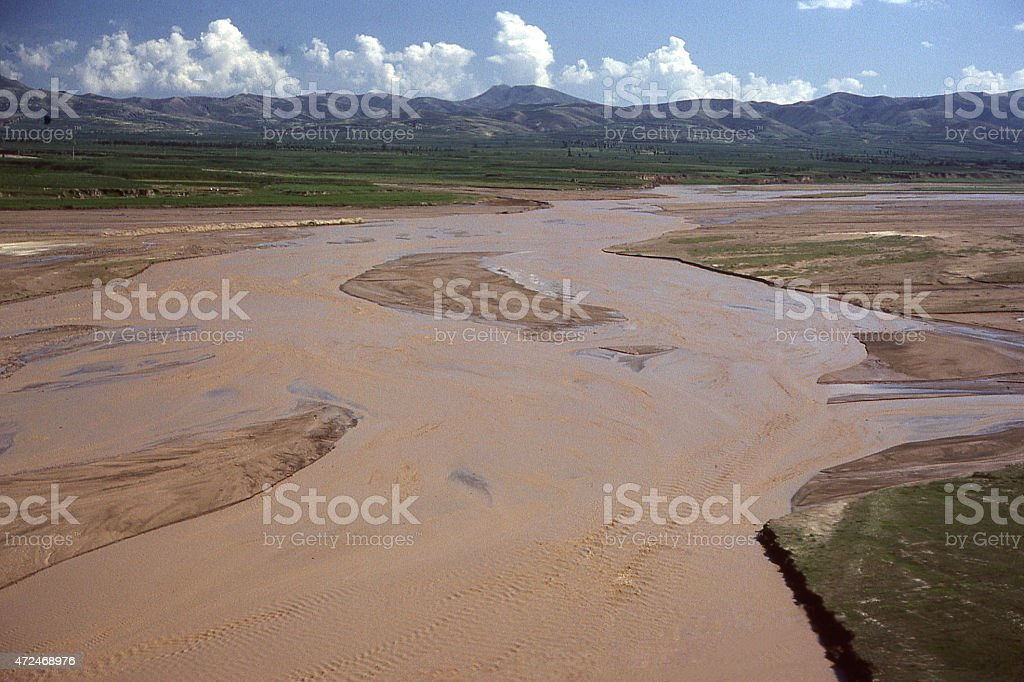 Meandering braided stream pattern Huang He River Inner Mongolia China stock photo