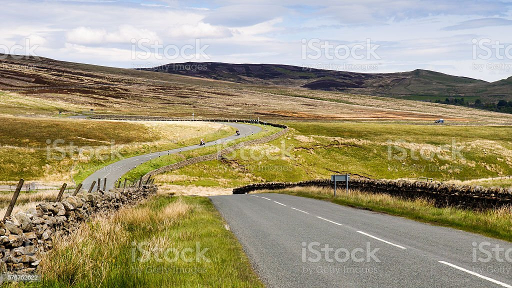 Meandering moorland road stock photo