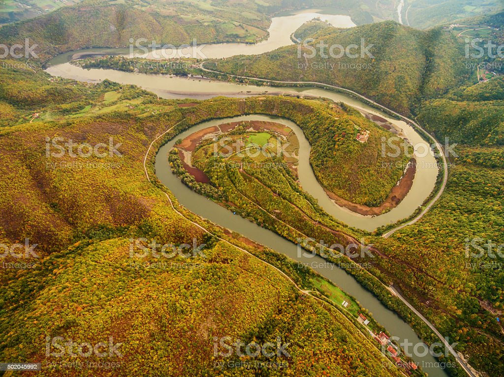 Meandering river - aerial stock photo