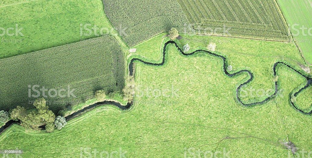 Meandering river in Belgium stock photo