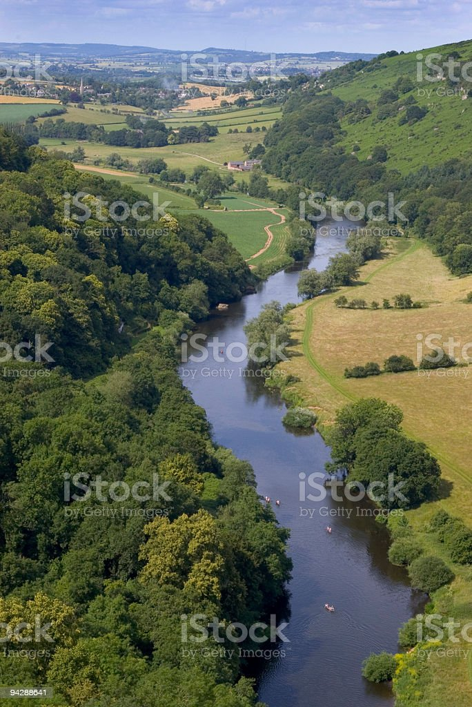Meandering river valley stock photo