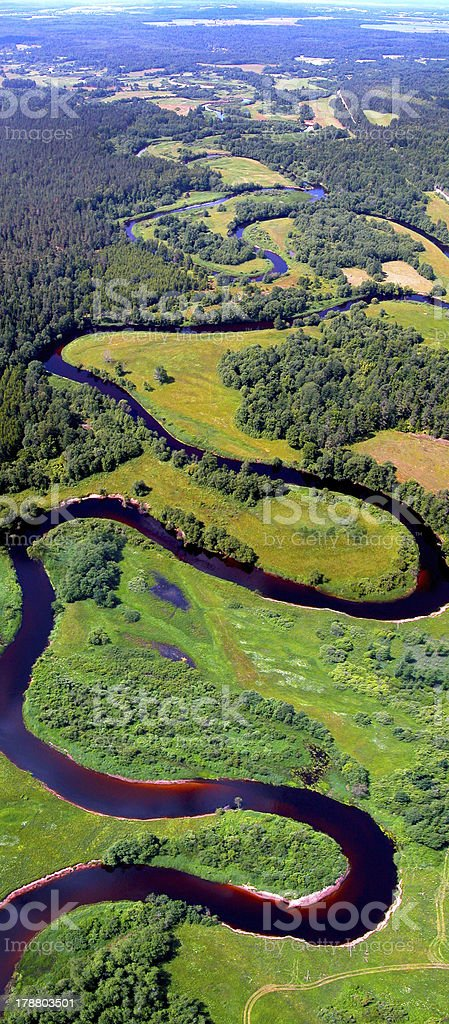 Meandering river view from above stock photo