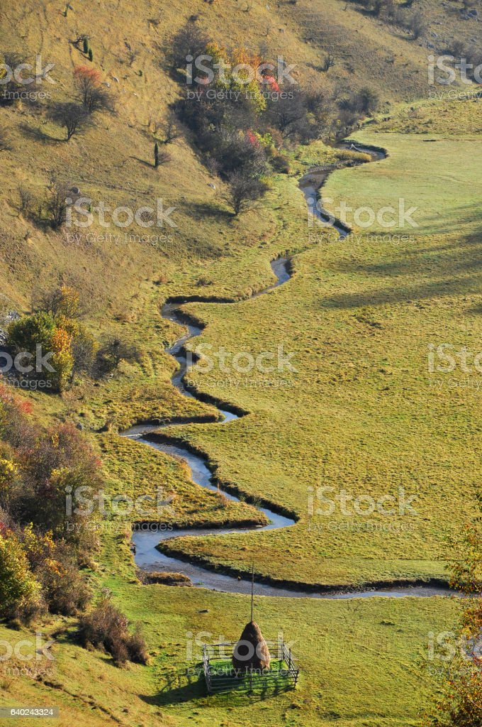 Meandering small watercourse in a green meadow stock photo