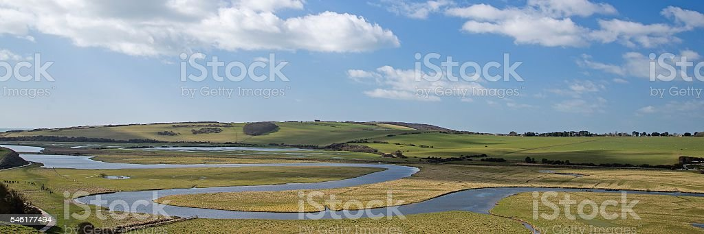 Meanders in the River Cuckmere stock photo