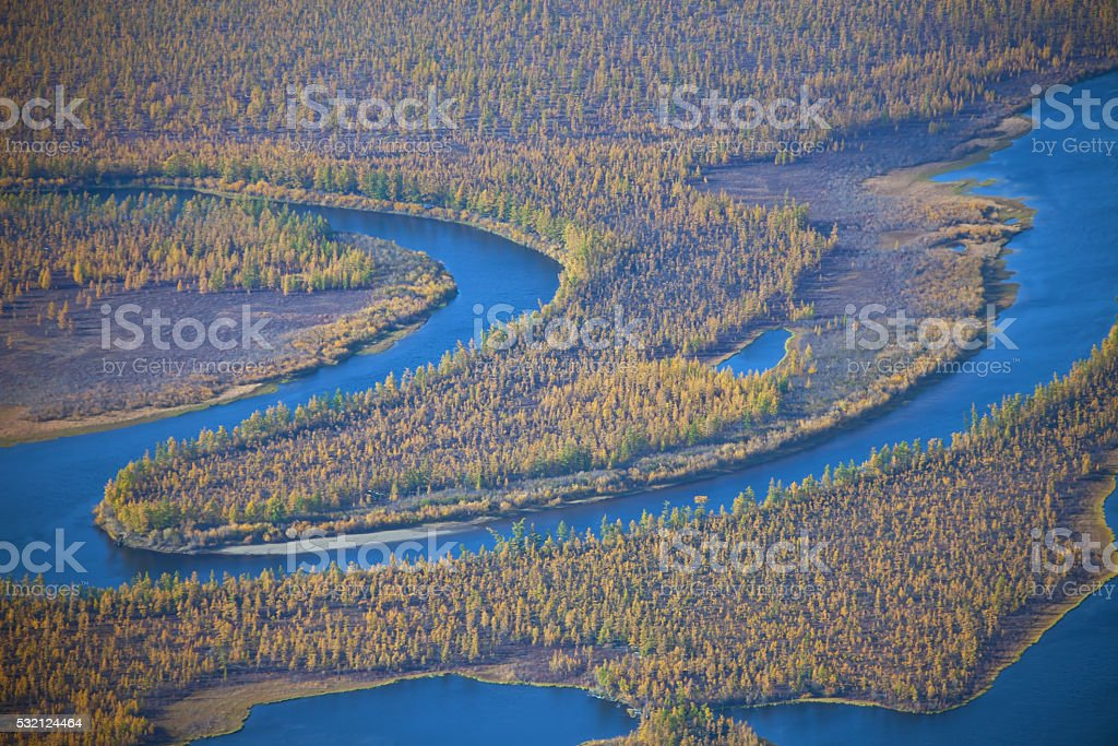 Meanders of the river  Moierokan and  taiga stock photo