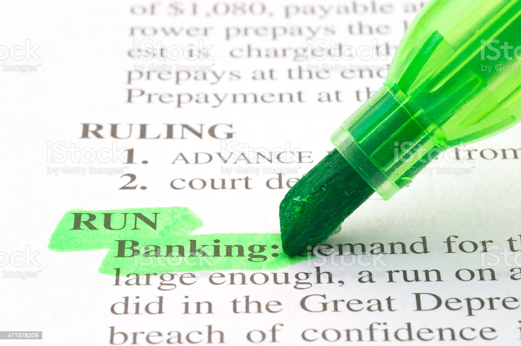 meaning of banking run definition marked in dictionary stock photo
