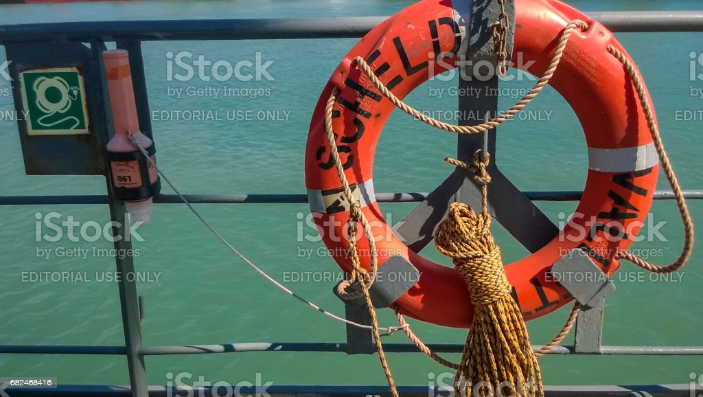 Means of helping the drowning. Lifebuoy. The ship's equipment to stock photo