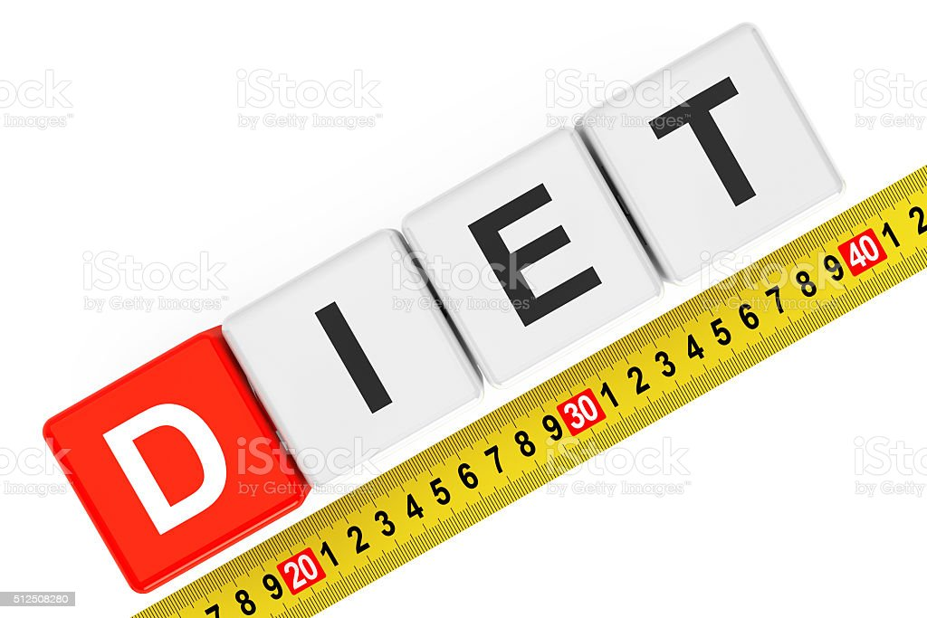 Measure Diet Concept. Diet Cubes with Measuring Tape stock photo