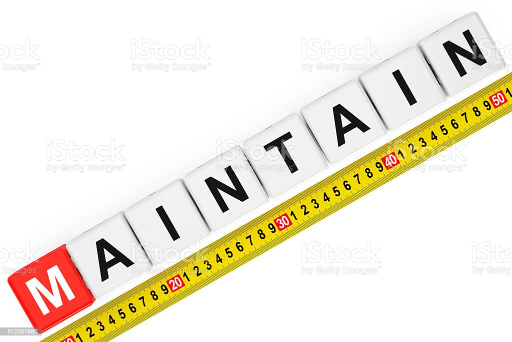 Measure Maintain Concept. Maintain Cubes with Measuring Tape stock photo