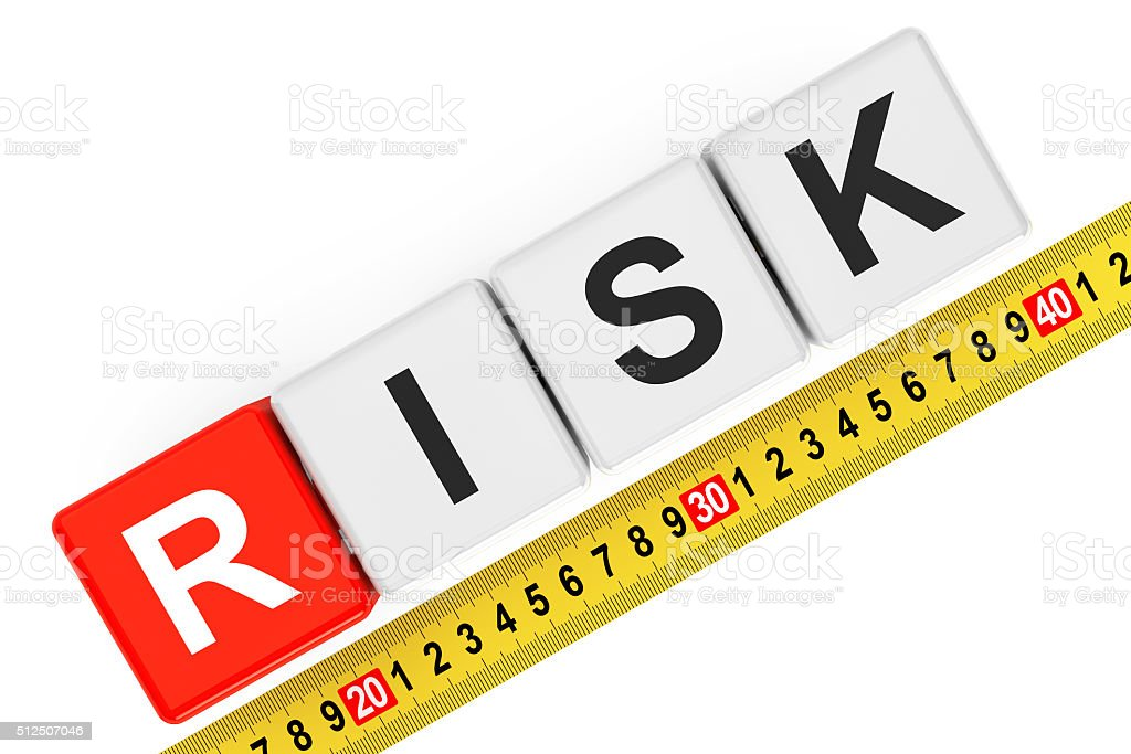 Measure Risk Concept. Risk Cubes with Measuring Tape stock photo
