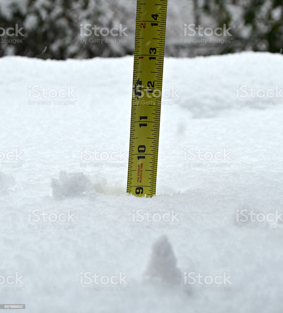 Measure Snowfall Inches stock photo