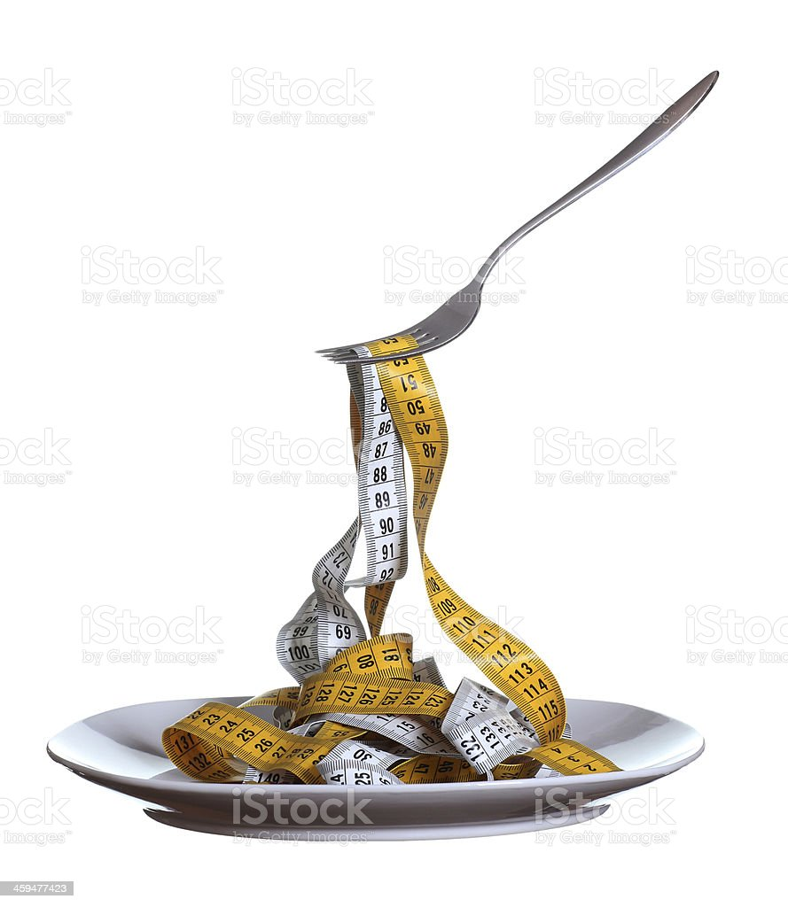 measure tape on plate with fork stock photo