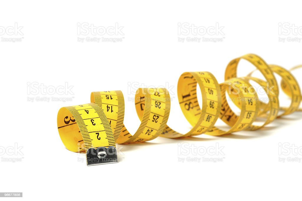 Measure tape over white royalty-free stock photo