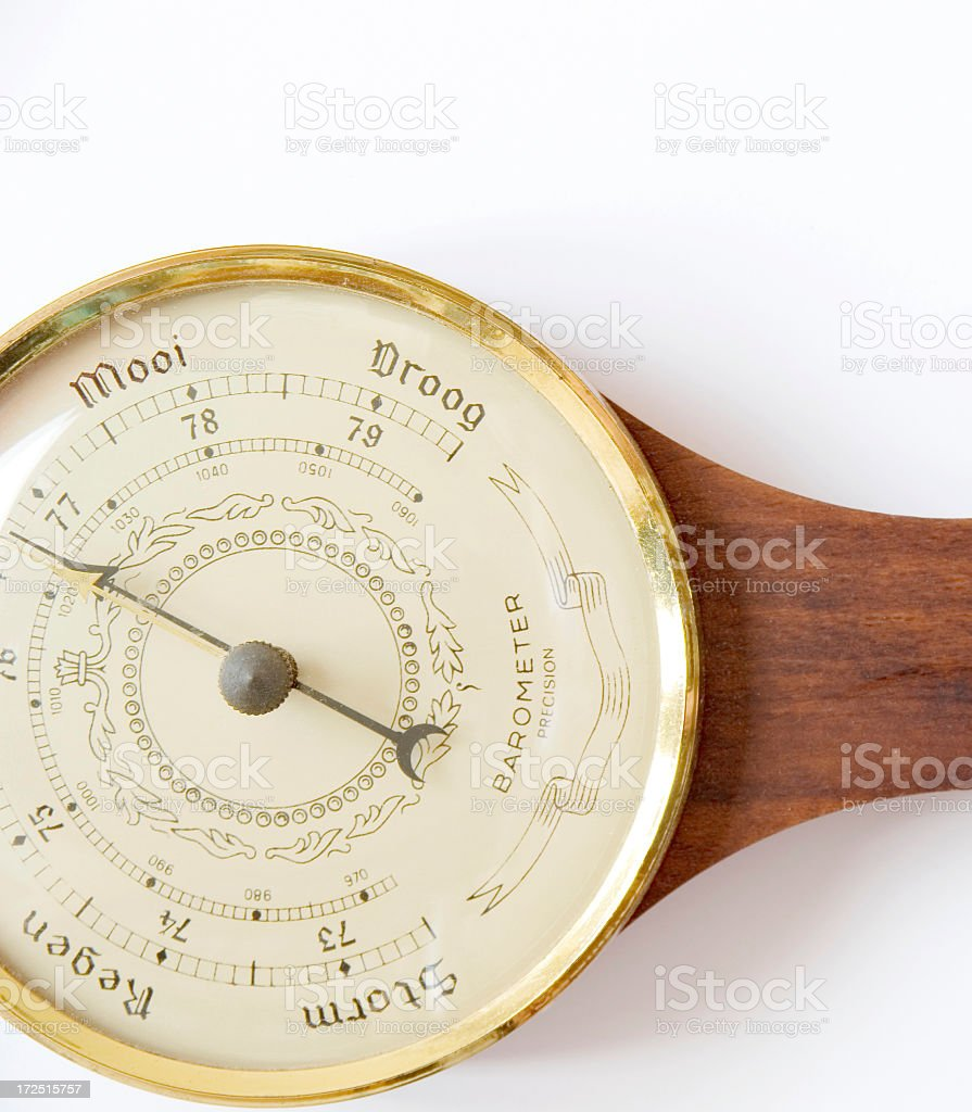 Measurement Concept: Wooden Barometer (Dutch) on White royalty-free stock photo