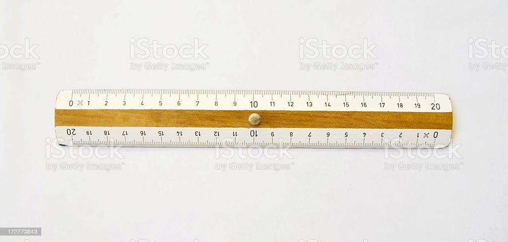 Measurement Concept: Wooden Ruler on White royalty-free stock photo