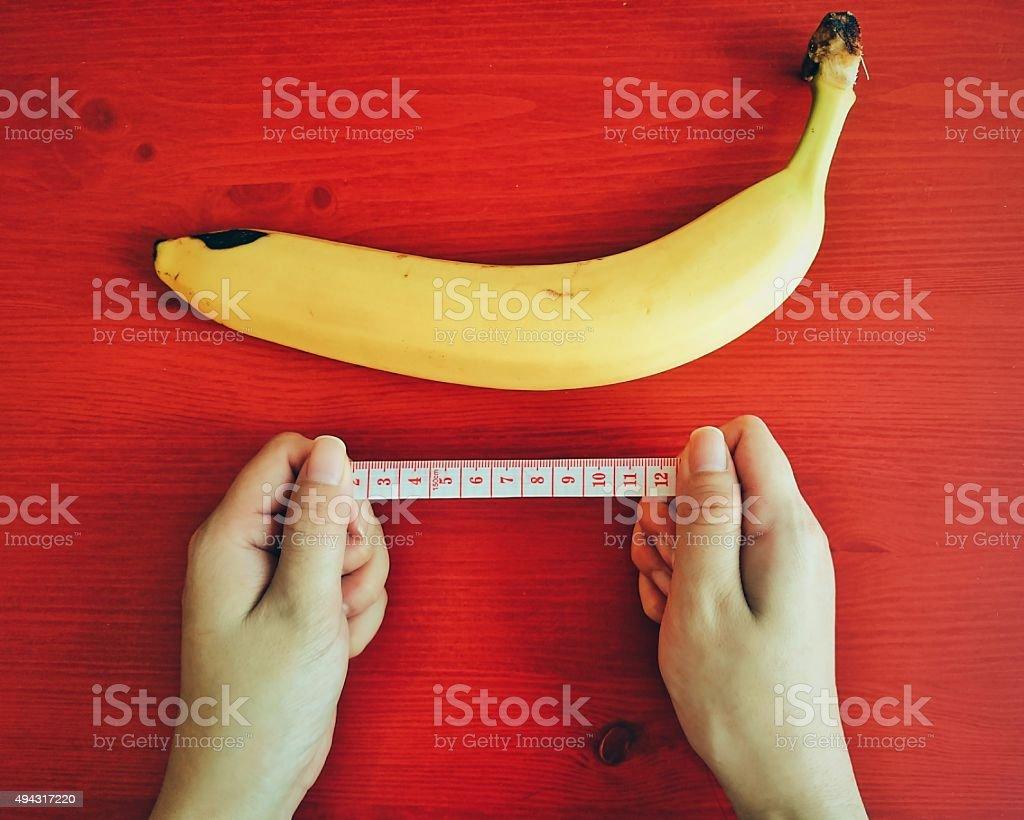 Measurement of a Banana stock photo