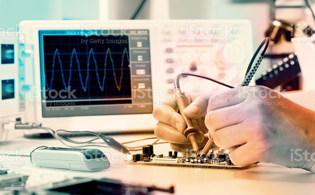 Measurement of a waveform stock photo