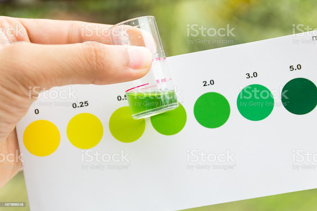 Measurement of ammonia in water , amomia testing in sea water stock photo