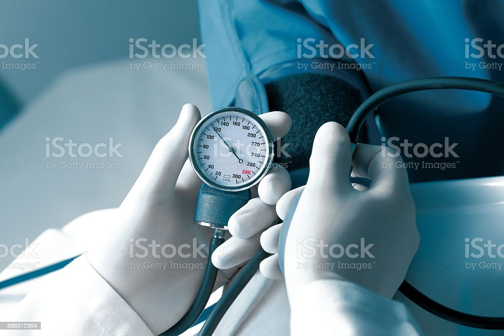 Measurement of blood pressure stock photo