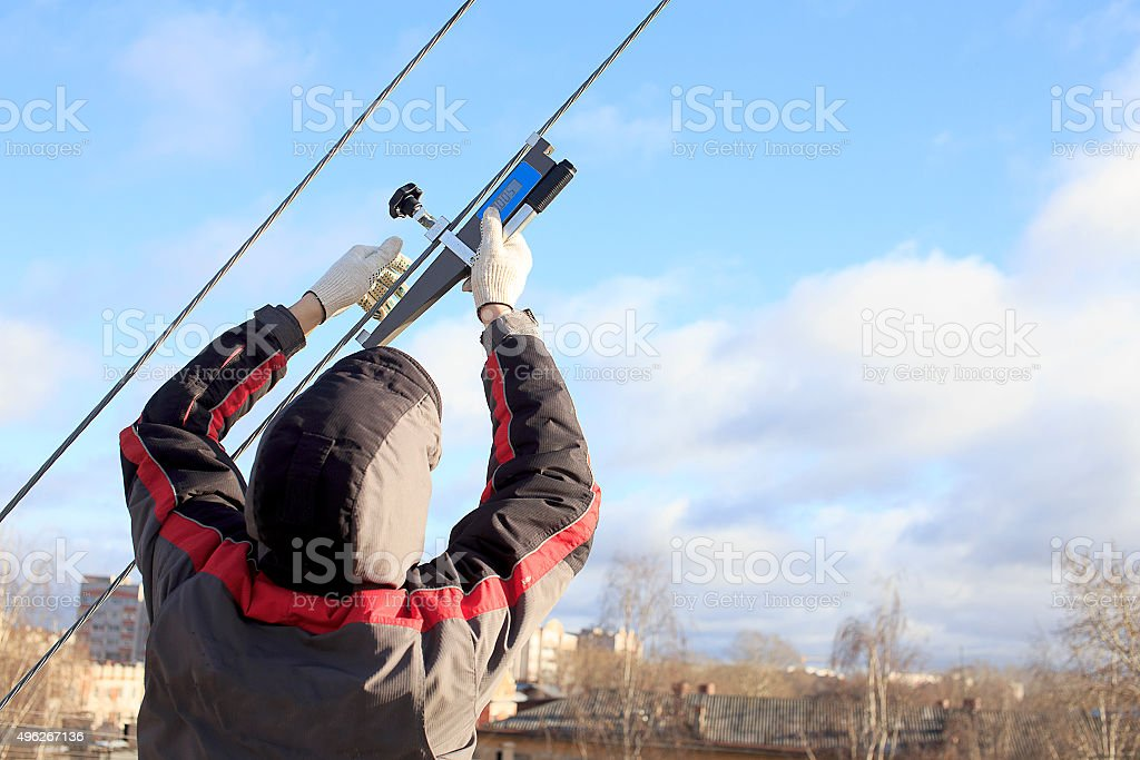measurement of cable tension stock photo