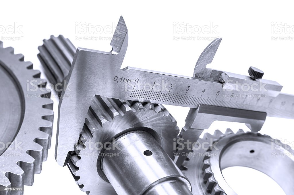 measurement of diameter of a gear stock photo