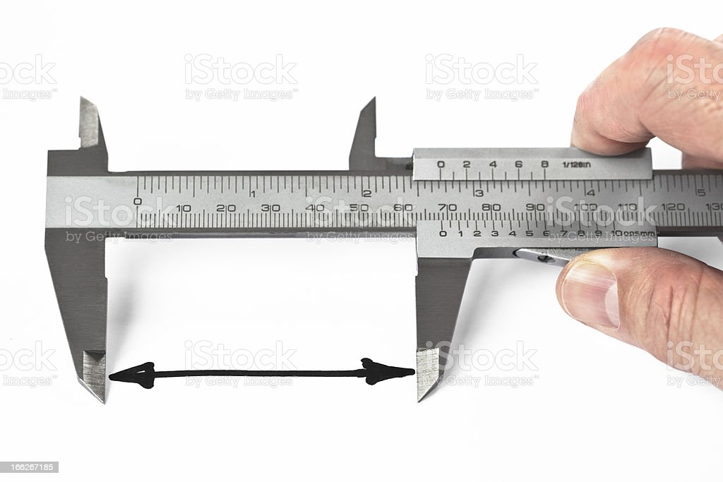 Measurement of Distance With Caliper royalty-free stock photo