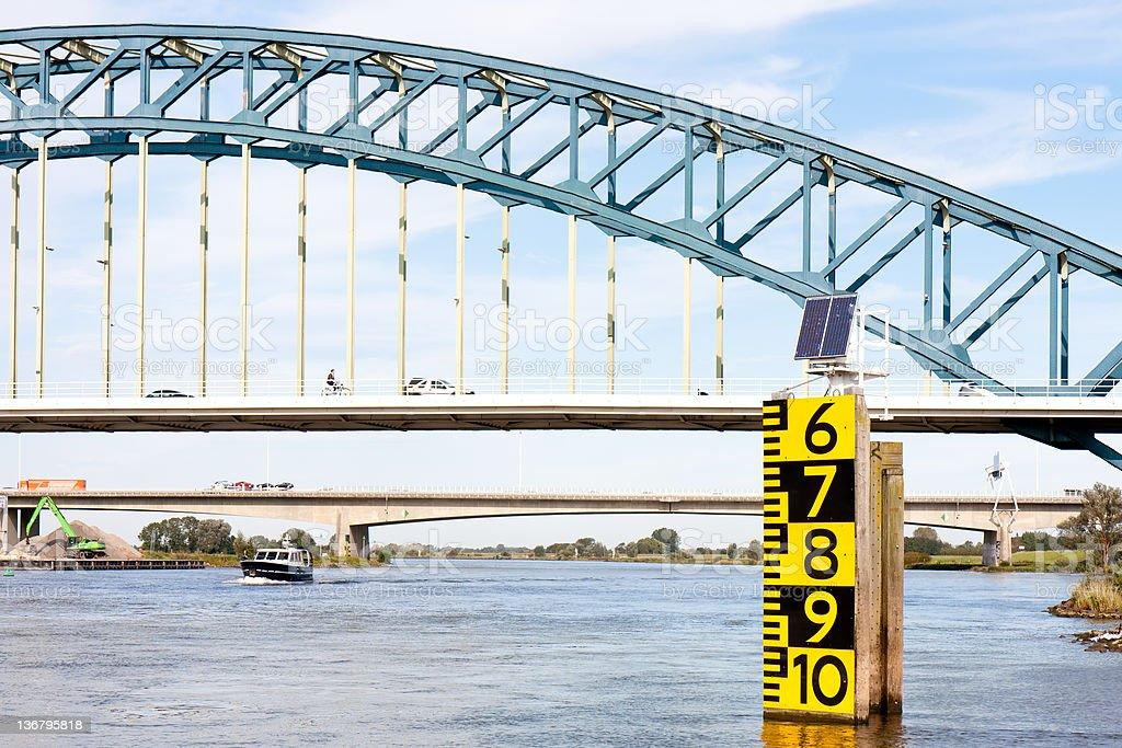 Measurement of freeboard big Dutch bridge royalty-free stock photo