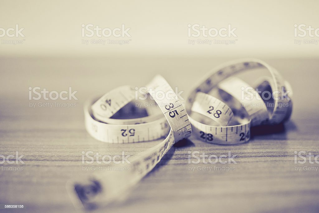 measurement of length and volume on a white background. stock photo