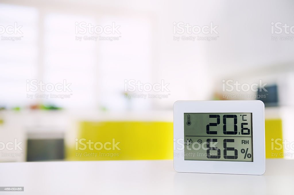 Measurement of the temperature and humidity in the room stock photo