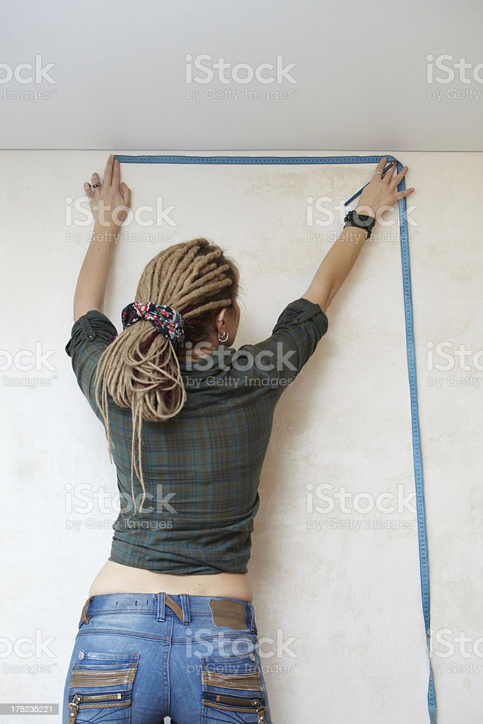 Measurement of wall. royalty-free stock photo