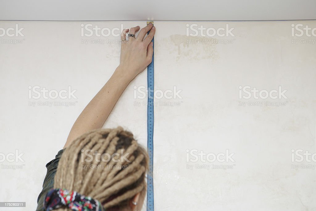 Measurement of wall royalty-free stock photo
