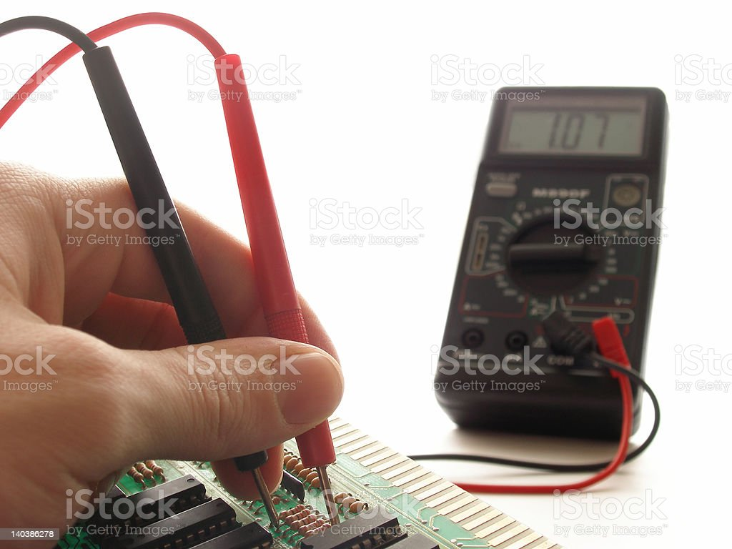 Measurements by multimeter royalty-free stock photo