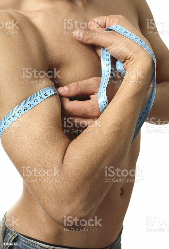 Measuring Biceps royalty-free stock photo