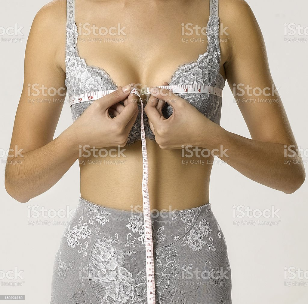 Measuring breast royalty-free stock photo