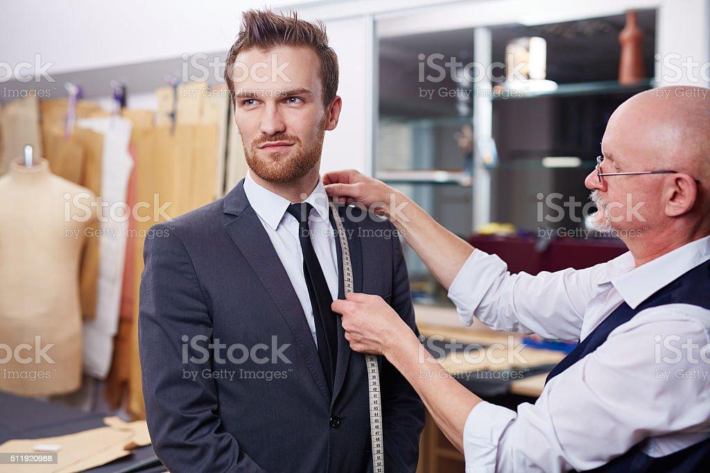 Measuring collar of jacket stock photo