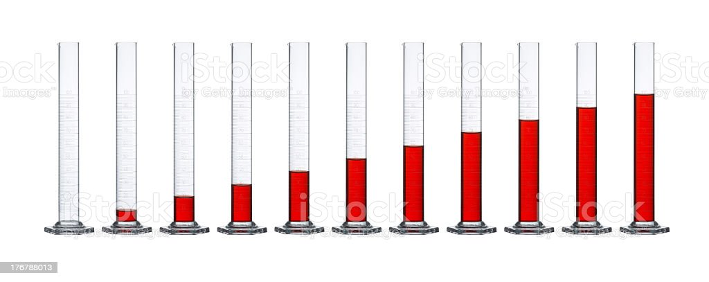 measuring cylinders in a row royalty-free stock photo